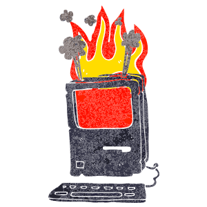 A graphic of a computer on fire